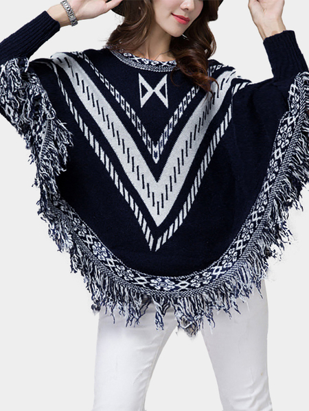 Bat Sleeves Tassel Design Loose Cape Jumper