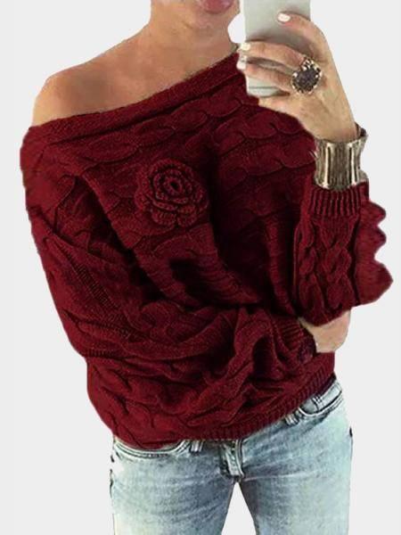 Burgundy Off Shoulder Bat-wing Sleeves Random Floral Sweater