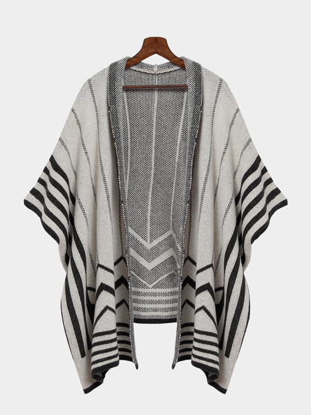 Dark Grey Long Striped Shawl Knitted Cardigan