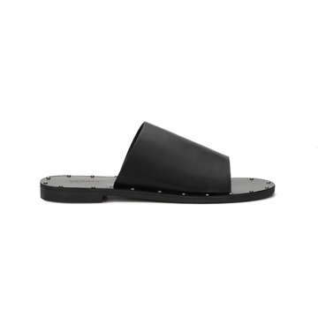 Black Leather Look Rivet Embellished Simple Style Slippers