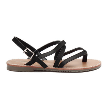 Black Leather Look Crossing Strap Over Toe Post Flat Sandals