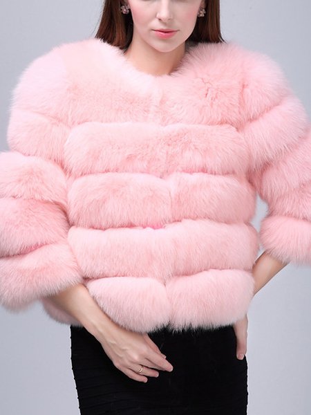 Pink Fluffy Artificial Fox Coat
