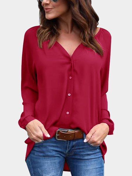 Red Cozy V-neck Long Sleeves Button-down Chiffon Blouse