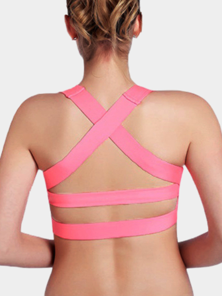Soutien-gorge de sport néon rose Cross-back Design