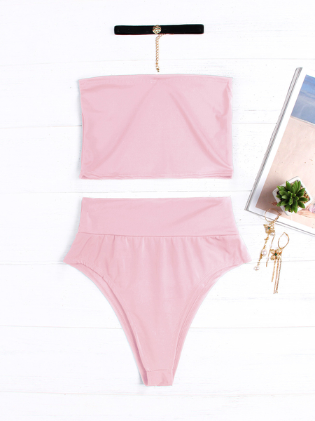 Pink Tube Top Sleeveless Bodycon Swimwear