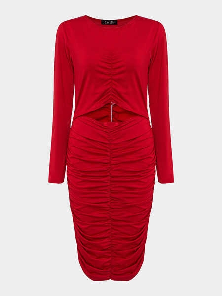 Red Pleated Slim Midi Dress with Cut Out