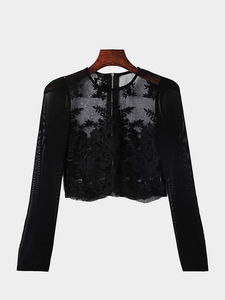 Negro Sexy Long Sleeves Bordados Lace Top