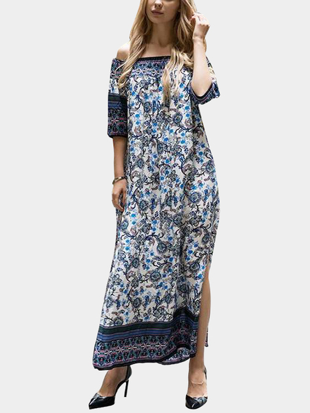 Navy Boho Floral Print Off-The-Shoulder Slit Side Maxi Dress