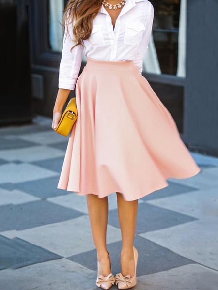Pink A Line Jupe taille haute