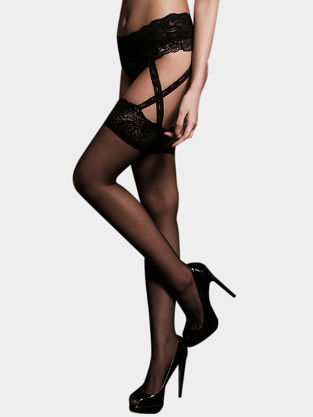 Black Sexy Lace Details Elastic Straps Stockings