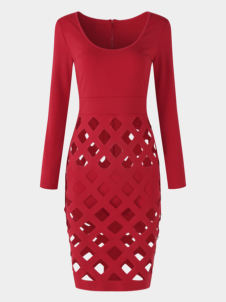 Red Ripped Details Round Neck Long Sleeves High-waisted Dresses