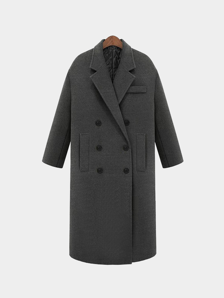 Grey Lapel Collar Duster Coat with Side Pockets
