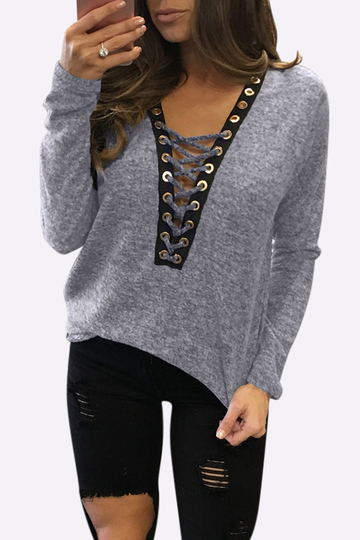 Sexy Deep V-neck Lace-up Front Casual T-shirts in Light Grey