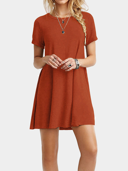 Orange Round neck Mini Dress