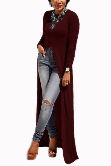 Burgundy Round Neck Long Sleeve Slit Hem Maxi Dress