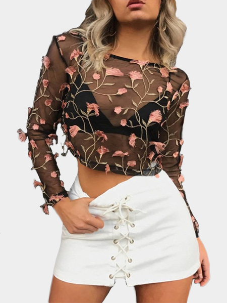 Pink Random Flower Embroidered  Net Yarn Round Neck Long Sleeves Top