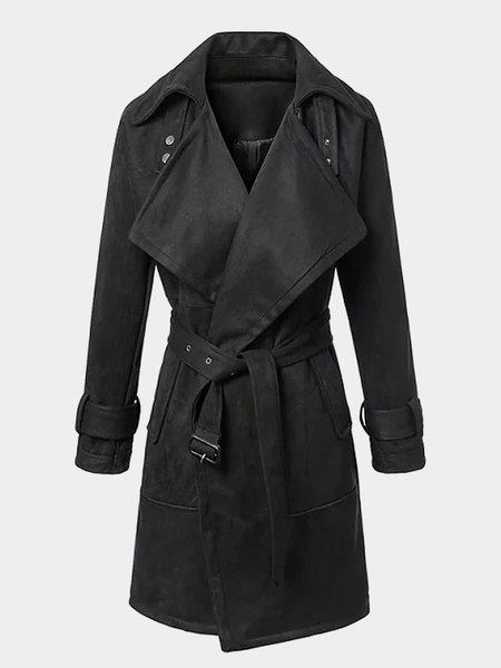 Suede Belted Trench Coat em preto