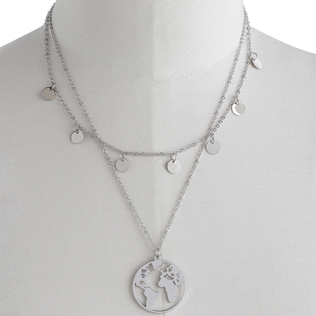 Silver Earth & Disc Layered Chain Necklace