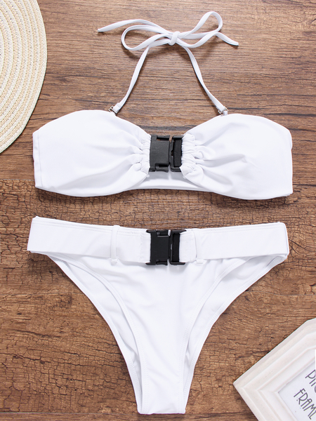 White Basic Padded Buckle High Waist Bandeau Bikini Set