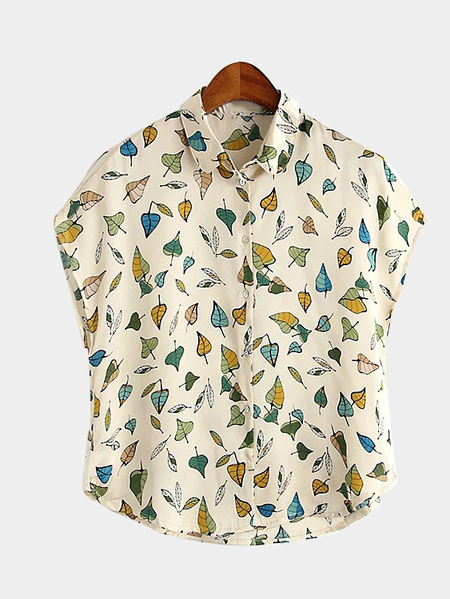 Leaf Print Cape Sleeve Shirt