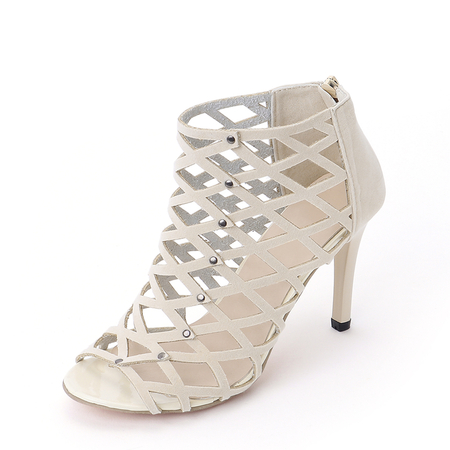 Khaki Sexy Peep Toe Hollow Design Sandals
