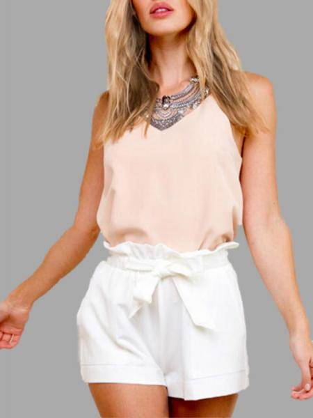 White Pleated Waist A-line Shorts with Waist Tie