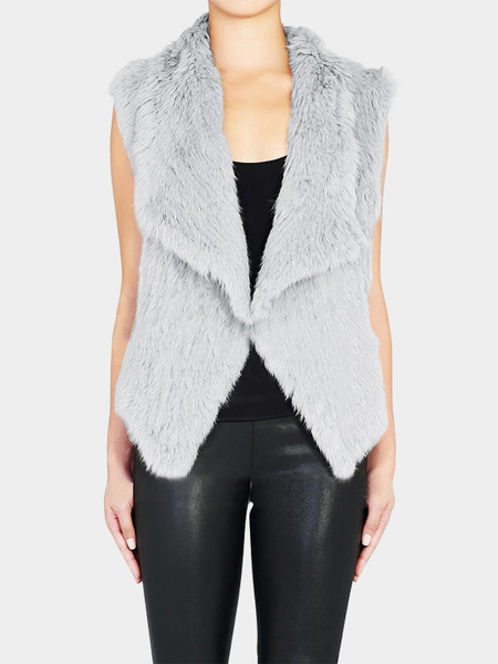 Grey Fur Waterfall Vest