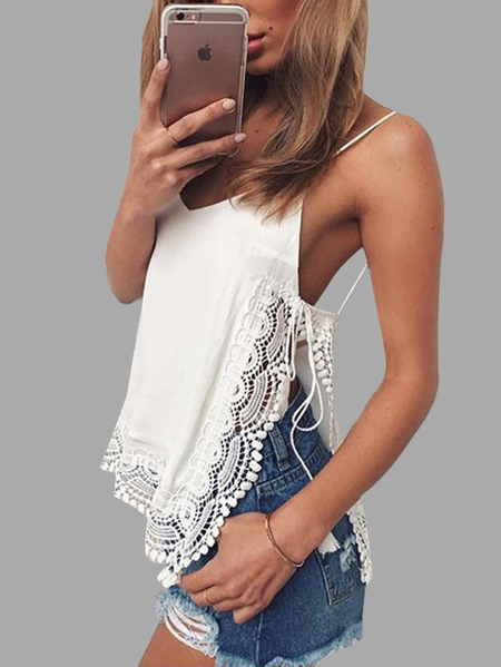 White Strappy Cut Out Cami with Lace Design