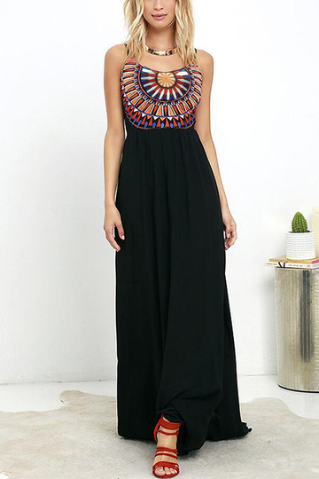 Negro Bohemia Backless vestido maxi