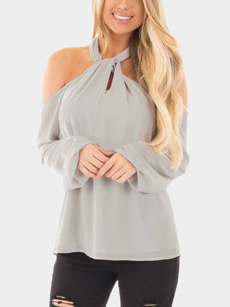 Grey Zipper Design Halter Neck Long Sleeves Blouse