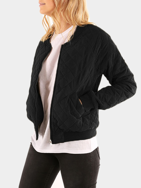 Black Casual Ribbed Neckline Side Pockets Jacket