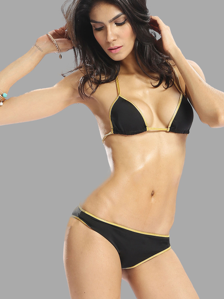 Triangle Halter Contrast Colour Bikini Set without Brassiere