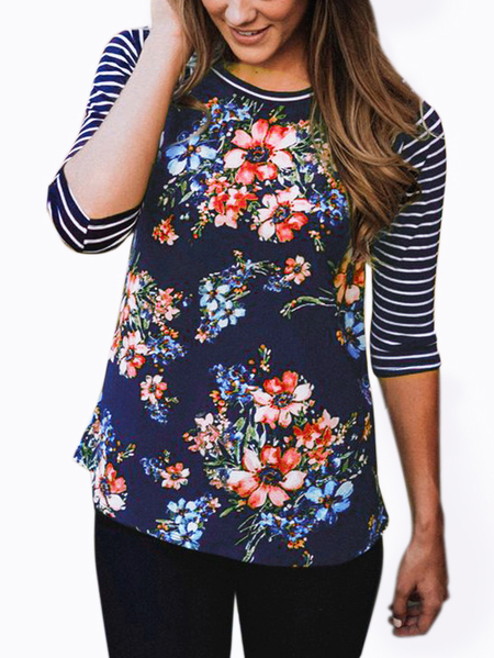 Blue Stripe & Floral Print Pattern Raglan Sleeves Top