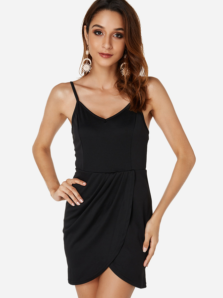 Black Backless V-neck Sleeveless Sexy Spaghetti Strap Dresses