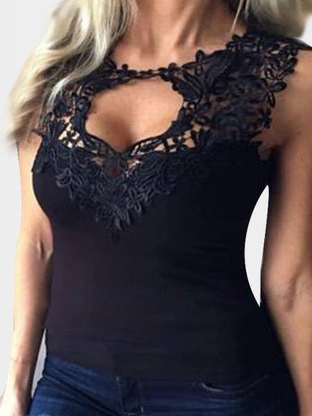 Black Cut Out Lace Details Vest