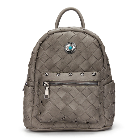 Woven Mini Backpack in Grey