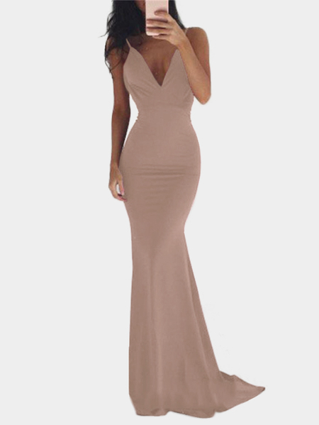 Apricot Backless Design Deep V Neck Maxi Party Dress