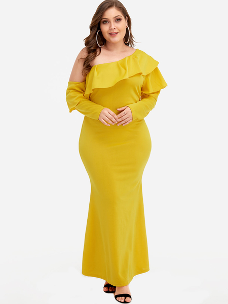 Yellow Tiered Design One Shoulder Maxi Dress