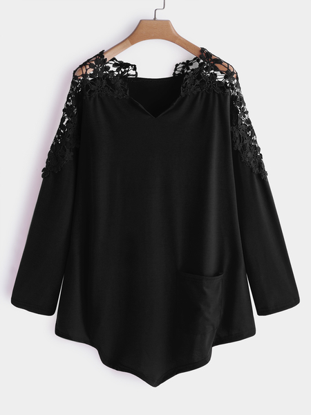 Plus Size Black Hollow Out Lace V-neck Blouses