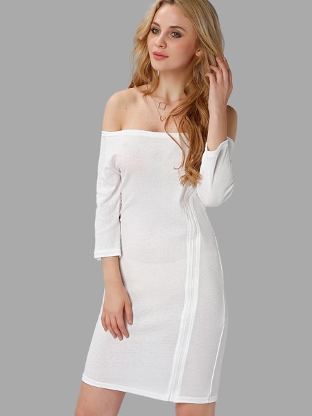 White Fashion Off-shoulder Zipper Mini Dress