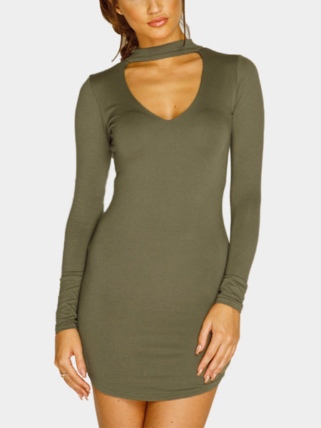 Dark Green Casual Scoop Neck Front Mini Dress