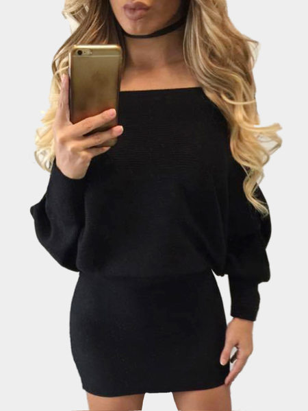 Black Sexy One Shoulder Bat Sleeves Mini Dress