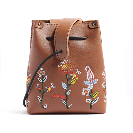 Floral Embroidery Crossbody Bags in Brown