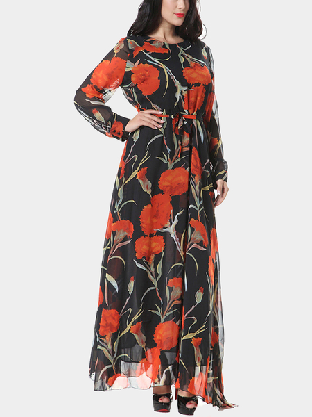 Plus Size Long Sleeves Floral Printing Maxi Dress with Belt