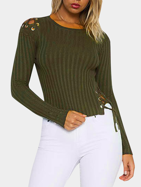 Army Green Lace-up Details Bodycon Crop Sweaters