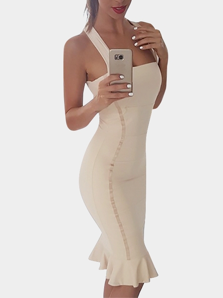 Cream Square Neck Sleeveless Crossed Back Design Flounced Hem Sexy Dress