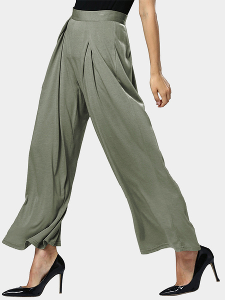 Grayish Green Fashion High Waist Wide Leg Loose Trousers