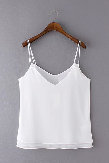 White Double Layers V Neck Cami Top