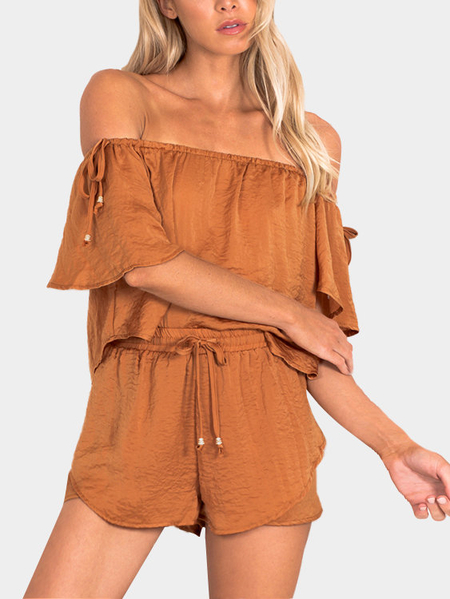Off the Shoulder Lace-up Side Top & Elastic Waistband Short Co-ord