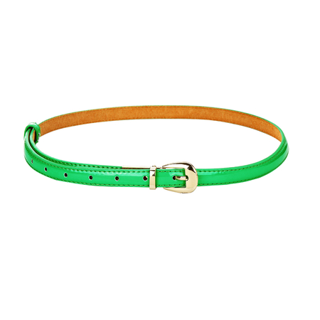 Green Smooth Leather-look Skinny Buckle Waist Belt with Metal Tip
